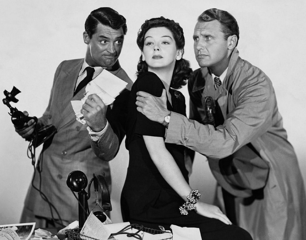 Cary Grant, Rosalind Russell and Ralph Bellamy by Unkown, public domain