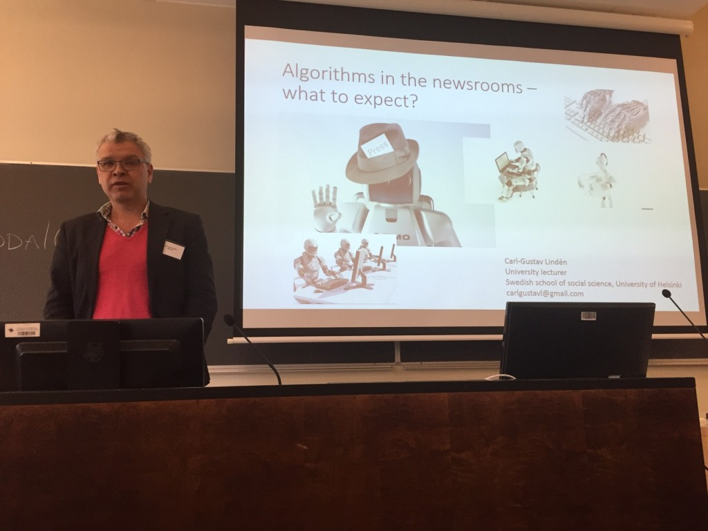 Carl-Gustav Lindén presenting at the NODA16 academic preconference, photo by Turo Uskali