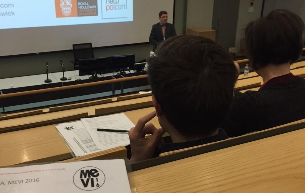 Andrew Chadwick giving his keynote speech at MEVI16, courtesy of Turo Uskali