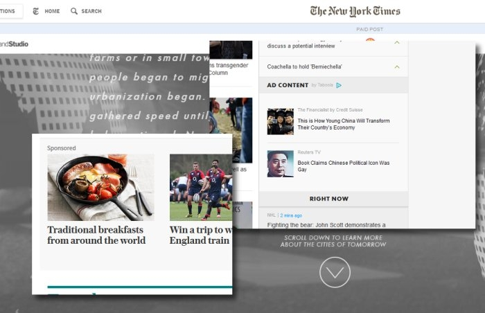 Native advertising screen caps