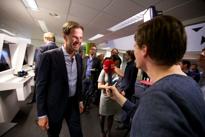 Picture: Mark Rutte geeft een interview aan RTV Utrecht in de Dutch Game Garden by Sebastiaan ter Burg, license CC BY 2.0