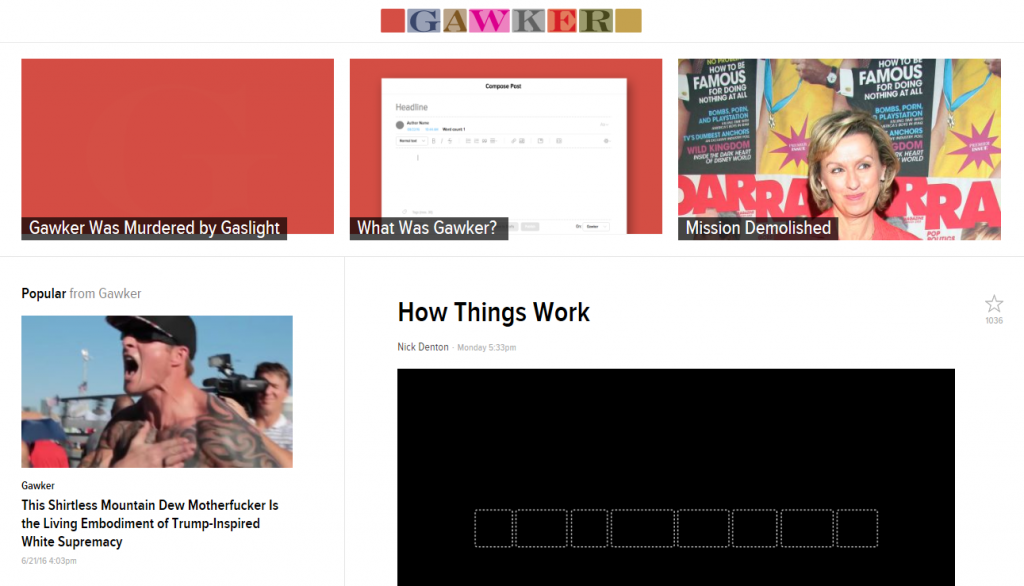 Screen capture from Gawker's home page