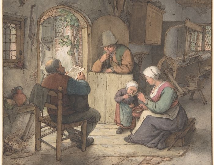 Reading news at the weaver's cottage (1673) by Adriaen van Ostade. Cropped.