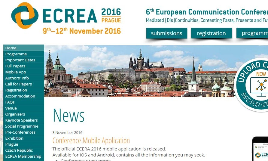 Screen capture from the ECREA 2016 website.