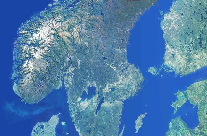 Picture: Scandinavia by NASA Earth Observatory, license information, cropped, adjusted light