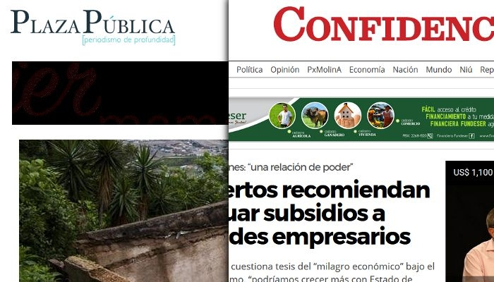 Picture: Screenshots of the news websites Plaza Pública and Confidencial Digital