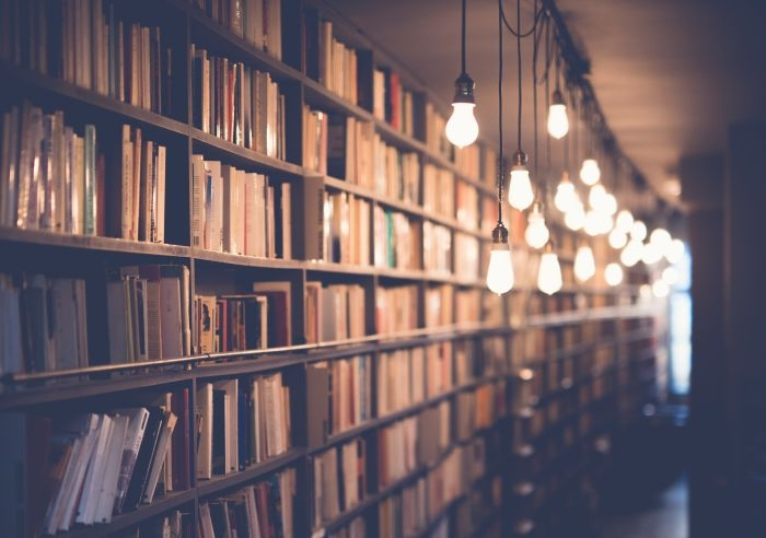 Picture: Library with hanging light bulbs by Janko Ferlič, license CC0 1.0