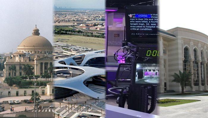 Pictures: CairoUniv by Citadelite, license CC0 1.0, ZU Abu Dhabi Campus by Monazu, license CC BY-SA 3.0, Northwestern University in Qatar newsroom by Alanna Alexander, license CC BY-SA 4.0 & AUS Library by Meyavuz, license CC BY 3.0