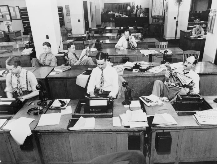 Newsroom of the New York Times newspaper by Marjory Collins, licence CC0 1.0