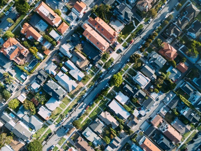 Picture: Suburb drone view by Paul, license CC0 1.0