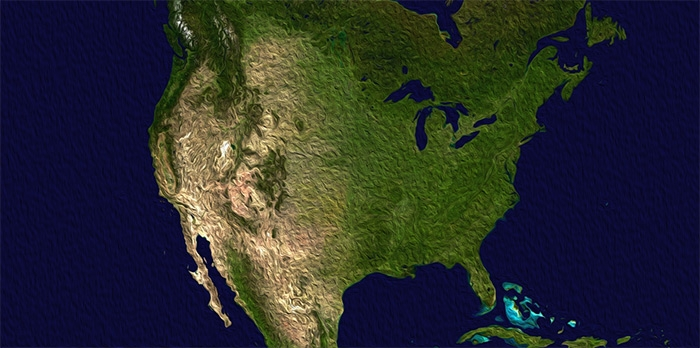 Picture: North America satellite orthographic by NASA, public domain, cropped and modified