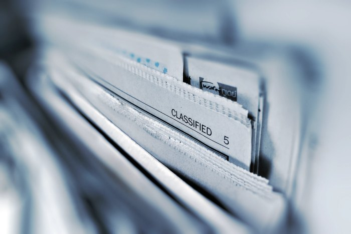 Picture: Classified newspaper page by AbsolutVision, license Unsplash